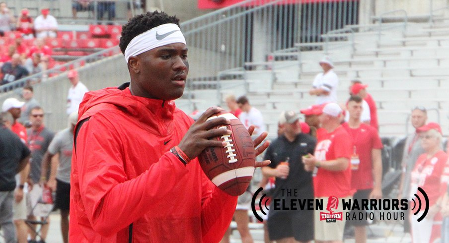 Dwayne Haskins warming up for Ohio State