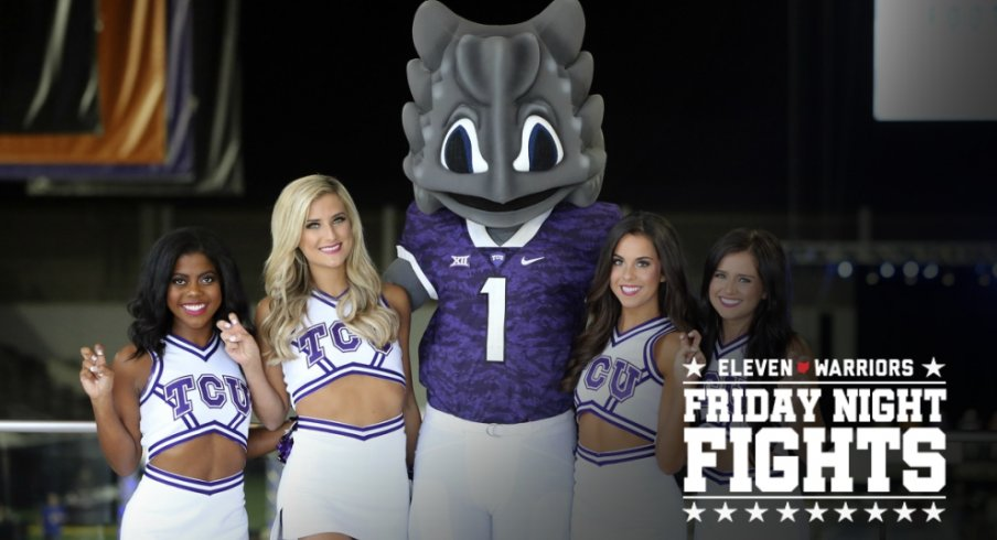 Jul 16, 2018; Frisco, TX, USA; TCU Horned Frogs cheerleaders and mascot pose for a photo during Big 12 football media days at the Ford Center at the Star. Mandatory Credit: Kevin Jairaj-USA TODAY Sports