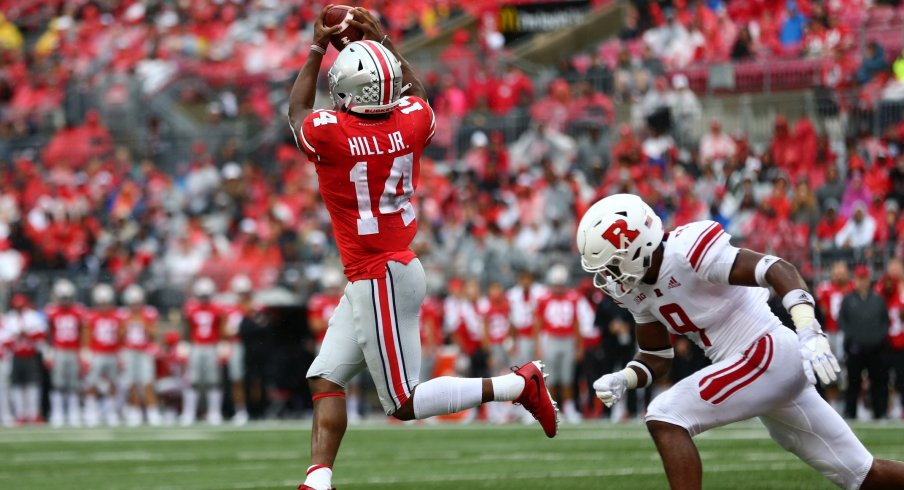 10 Buckeye receivers caught passes in their blowout win over Rutgers.
