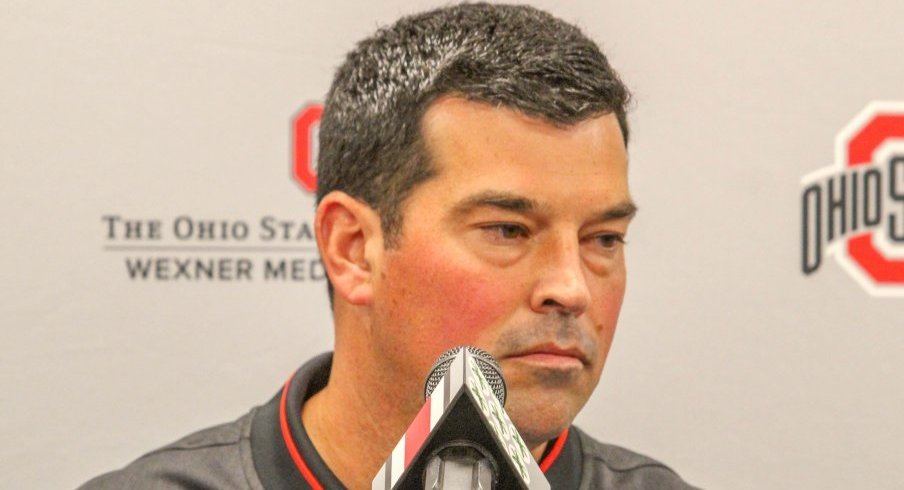 Ryan Day addresses the assembled media.