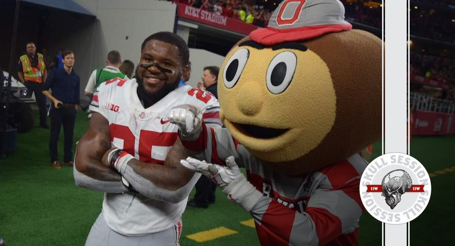 Mike Weber celebrates with Brutus in today's Skull Session.