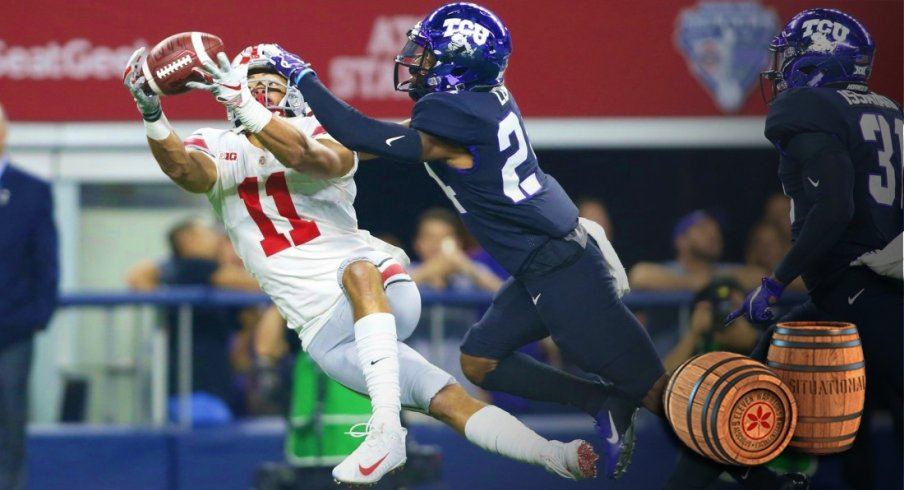 Sep 15, 2018; Arlington, TX, USA; Ohio State Buckeyes wide receiver Austin Mack (11) catches a pass against TCU Horned Frogs cornerback Julius Lewis (24) in the first quarter at AT&T Stadium. Mandatory Credit: Tim Heitman-USA TODAY Sports