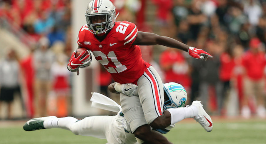 Parris Campbell breaks a tackle against Tulane