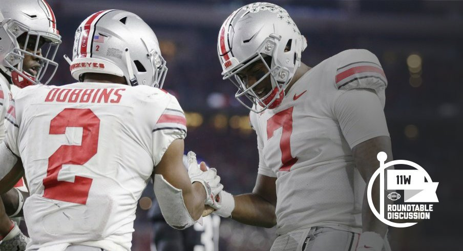 J.K. Dobbins and Dwayne Haskins - Tim Heitman-USA TODAY Sports