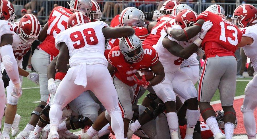 J.K. Dobbins runs for a touchdown against Indiana