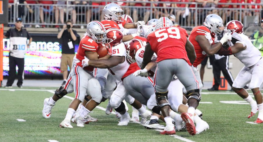 The Buckeyes averaged only 3.2 yards-per-carry against the Hoosiers, despite the big win.