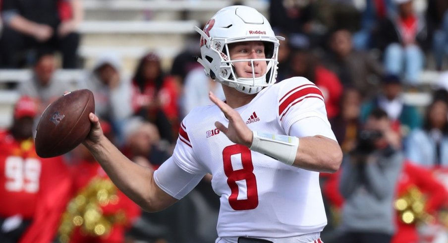 Oct 13, 2018; College Park, MD, USA; Rutgers Scarlet Knights quarterback Artur Sitkowski (8) passes against the Maryland Terrapins at Capital One Field at Maryland Stadium. Mandatory Credit: Mitch Stringer-USA TODAY Sports