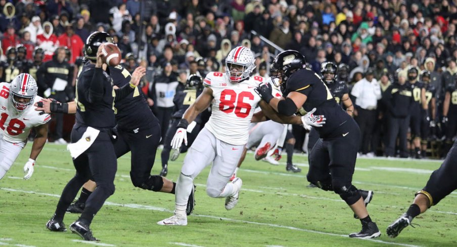 Dre'Mont Jones pressures Purdue quarterback David Blough