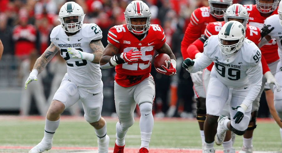 Mike Weber in Ohio State's 48-3 win over Michigan State in 2017.