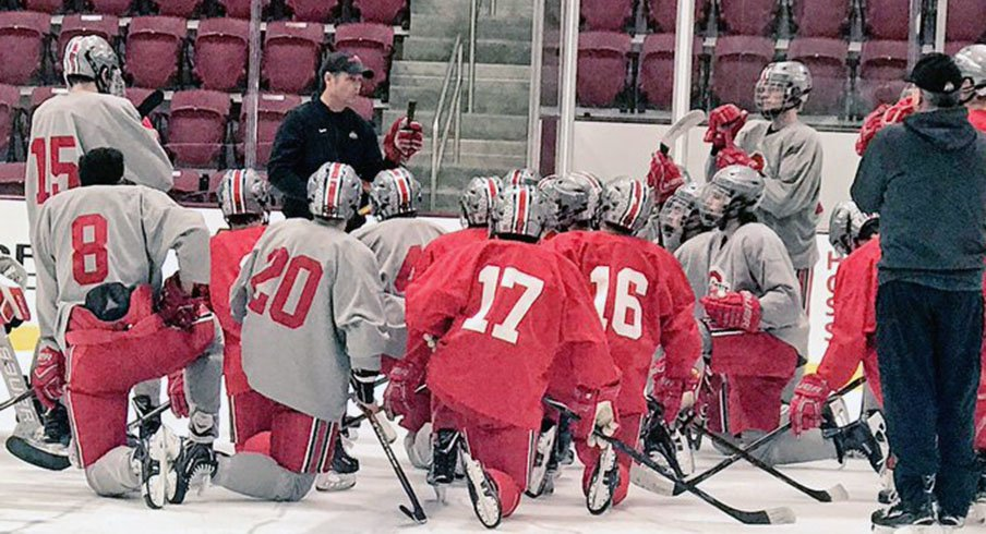 Ohio State men's ice hockey at practice.