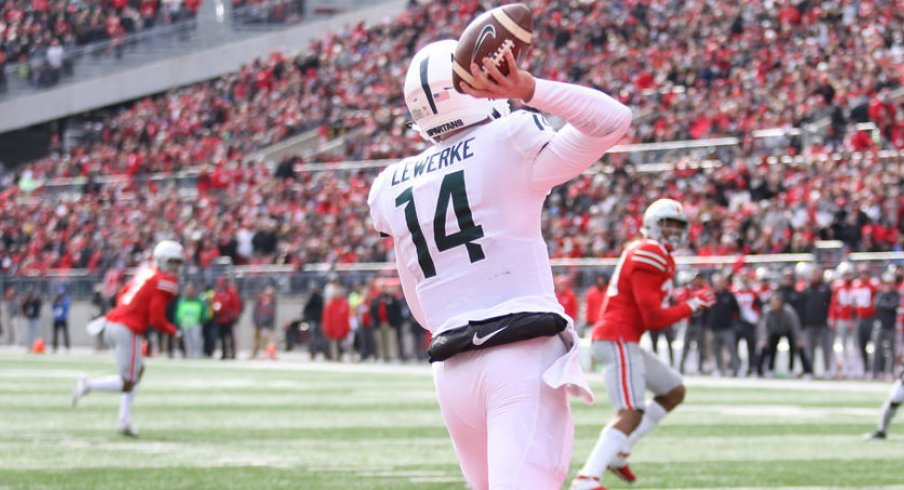 Lewerke passes out of his own end zone against the Silver Bullets.