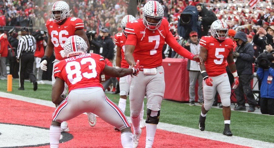 Dwayne Haskins and Terry McLaurin celebrate a touchdown