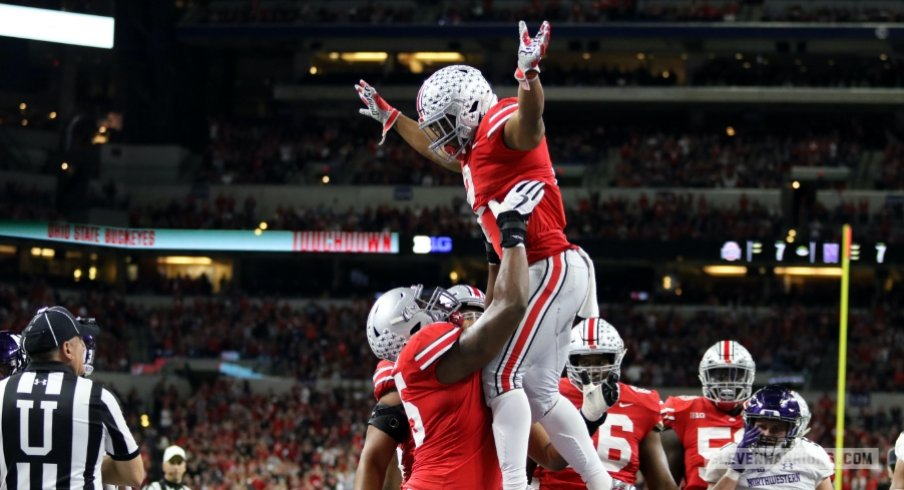 J.K. Dobbins celebrates his 2-yard touchdown