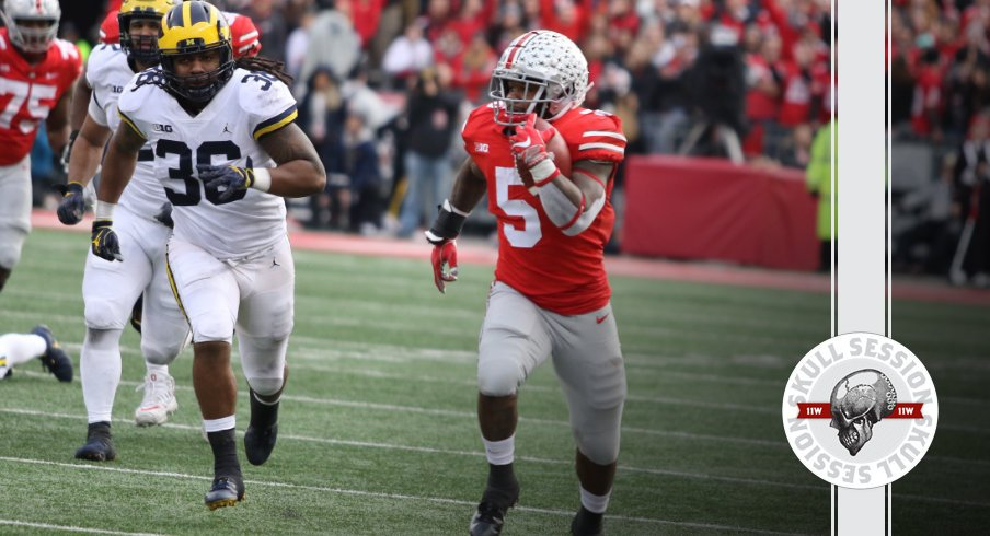 Mike Weber runs away from em in today's skull session.