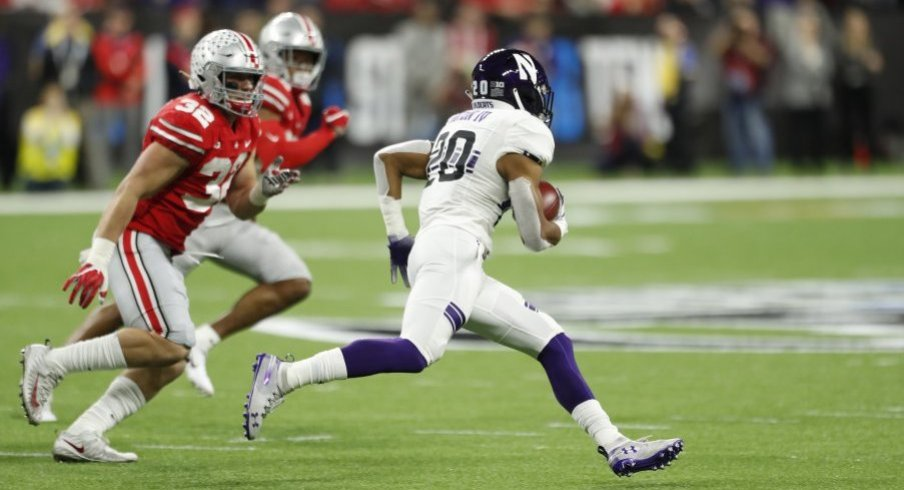 Northwestern's John Moten IV recorded one of eight rushes over 50 yards against Ohio State this season.