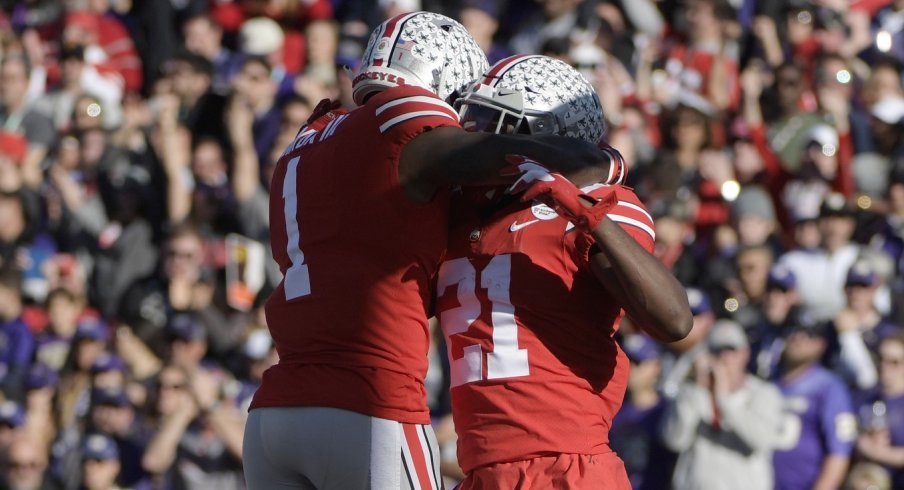 Jan 1, 2019; Pasadena, CA, USA; Ohio State Buckeyes wide receiver Parris Campbell (21) celebrates after making a catch for a touchdown with wide receiver Johnnie Dixon (1) in the first quarter against the Washington Huskies in the 2019 Rose Bowl at Rose Bowl Stadium. Mandatory Credit: Kirby Lee-USA TODAY Sports