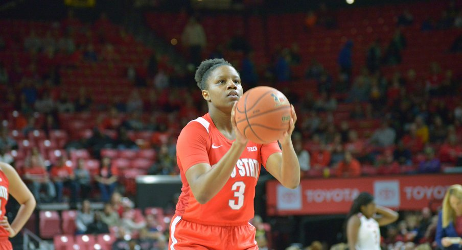 Janai Crooms takes a free throw against Maryland