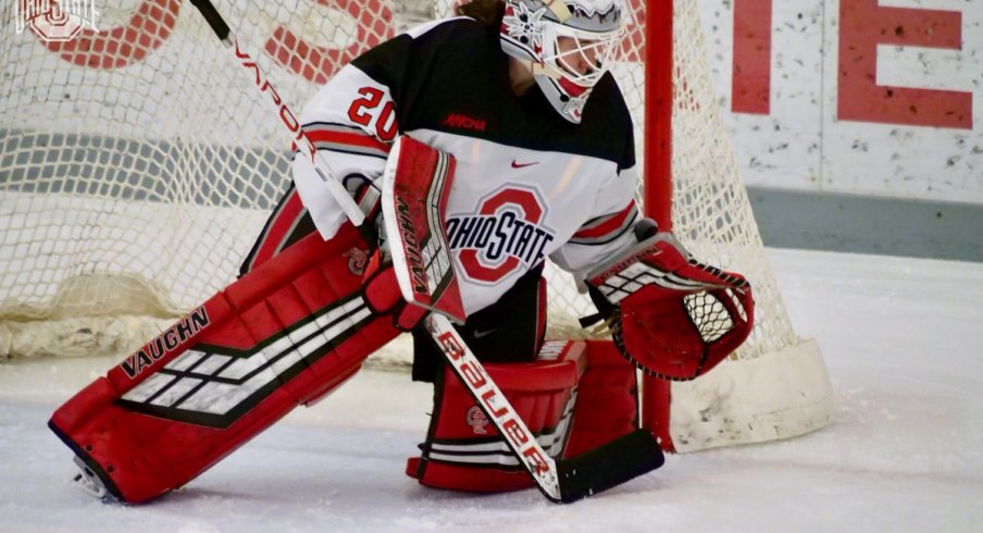 Buckeye goalie Andrea Braendli, the last thing a Badger shot sees before it dies.