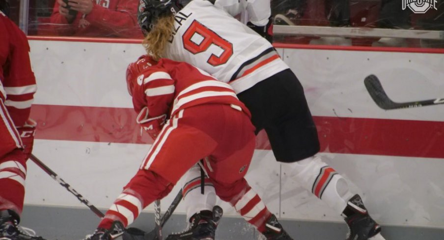 Madison Bizal battles a Badger in Ohio State's game vs. Wisconsin on Saturday.