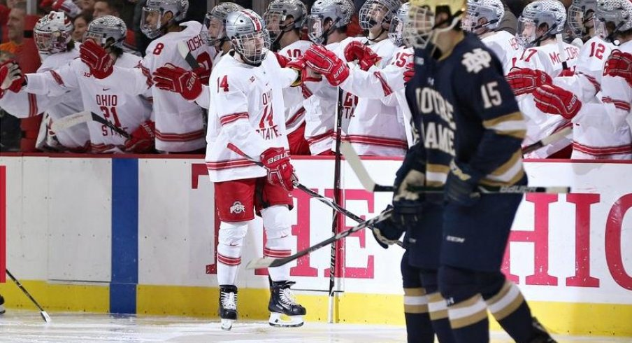 Austin Pooley celebrates his second goal in Ohio State's series against Notre Dame.