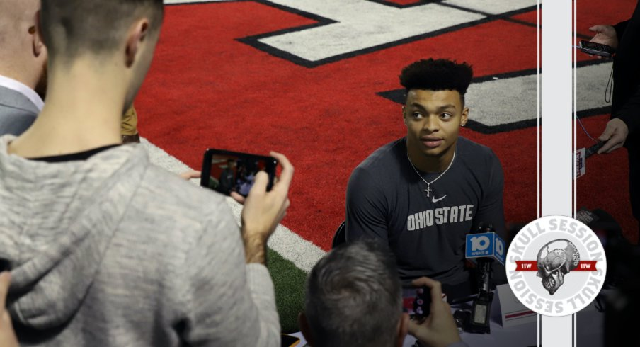 Justin Fields talks to the media in today's Skull Session.