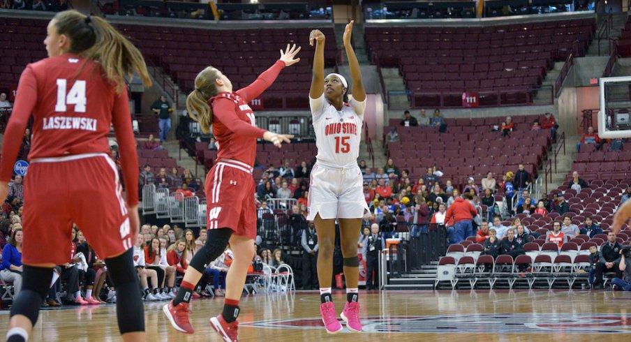 Adreana Miller shoots a jumper over Wisconsin.