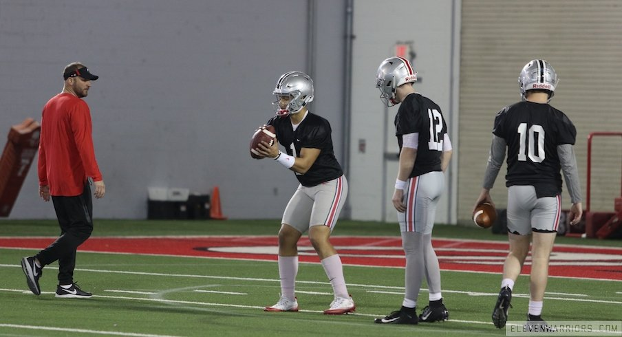 Justin Fields leads the quarterbacks at Ohio State's first spring practice.