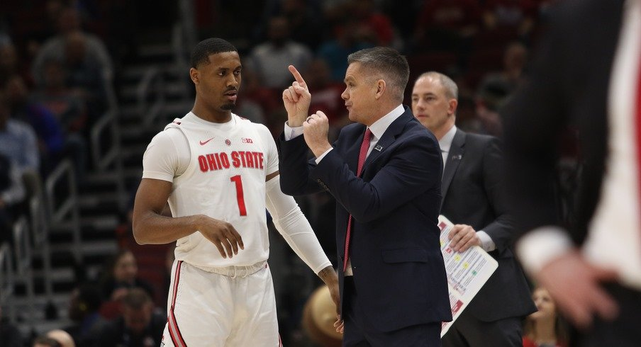 Ohio State head coach Chris Holtmann and player Luther Muhammad