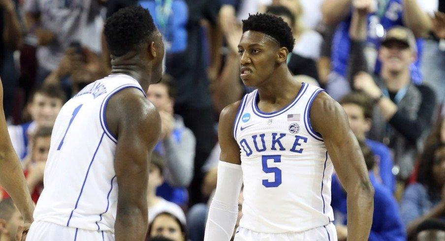 Duke players Zion Williamson and RJ Barrett