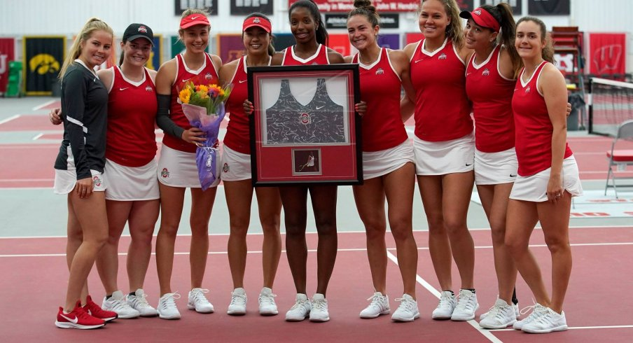 Women's tennis celebrates Senior Day.