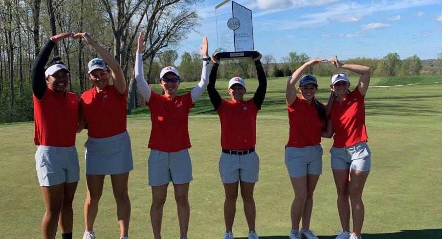 Women's golf celebrates its Big Ten title.