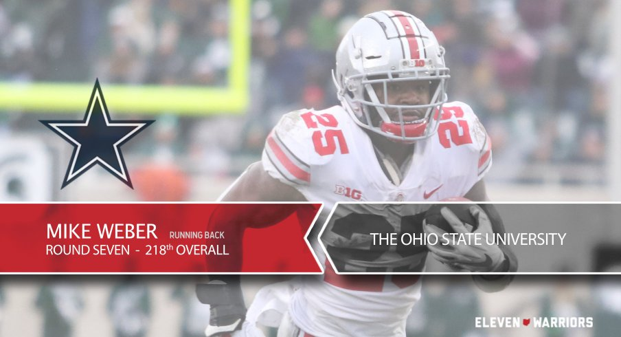The Dallas Cowboys select Mike Weber with the No. 218 overall pick in the 2019 NFL draft.