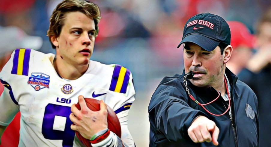 Jan 1, 2019; Glendale, AZ, USA; Louisiana State Tigers quarterback Joe Burrow against the Central Florida Knights in the 2019 Fiesta Bowl at State Farm Stadium. | Apr 13, 2019; Columbus, OH, USA; Ohio State Buckeyes head coach Ryan Day during the first half of the Spring Game at Ohio Stadium.