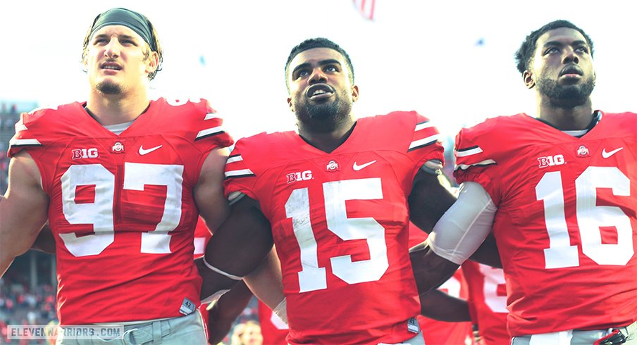 Joey Bosa, Ezekiel Elliott and J.T. Barrett