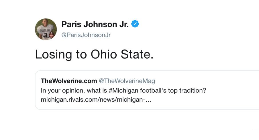 Paris Johnson Jr. has words for Michigan commits.