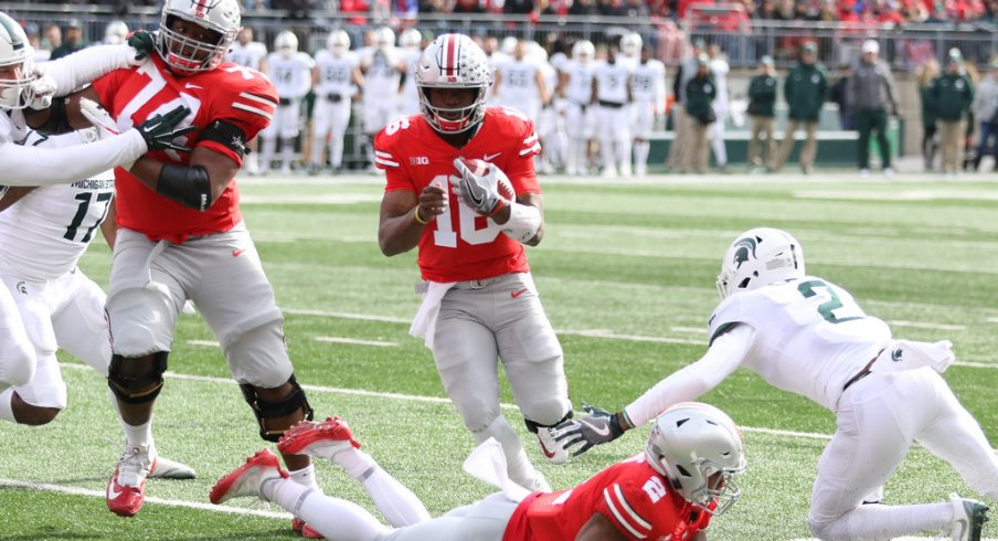 Barrett runs one in for a touchdown against Michigan State.