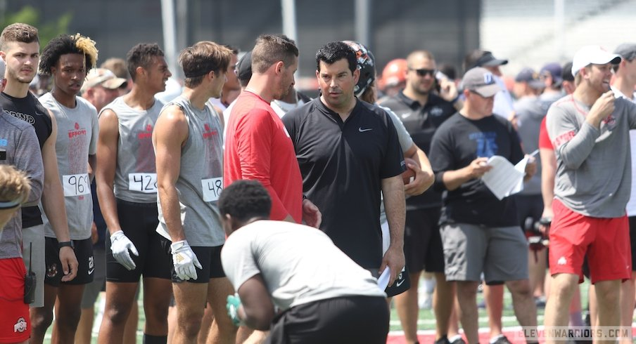 Ryan Day and wide receivers coach Brian Hartline at a recent recruiting camp.