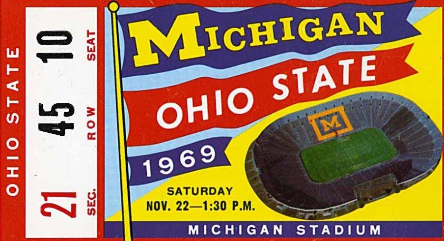 Ticket stub from Ohio State versus Michigan, 1969.