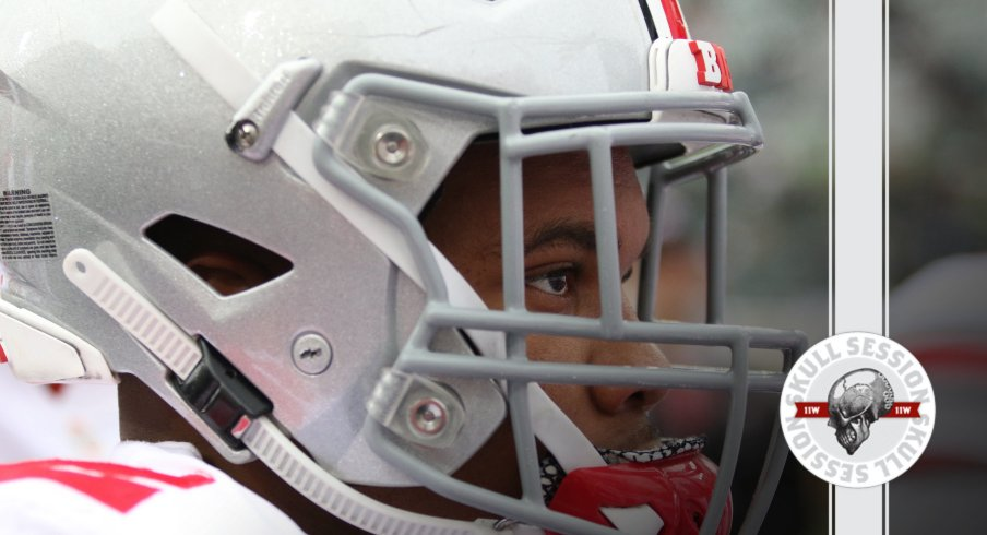 J.K. Dobbins is staring at today's Skull Session.