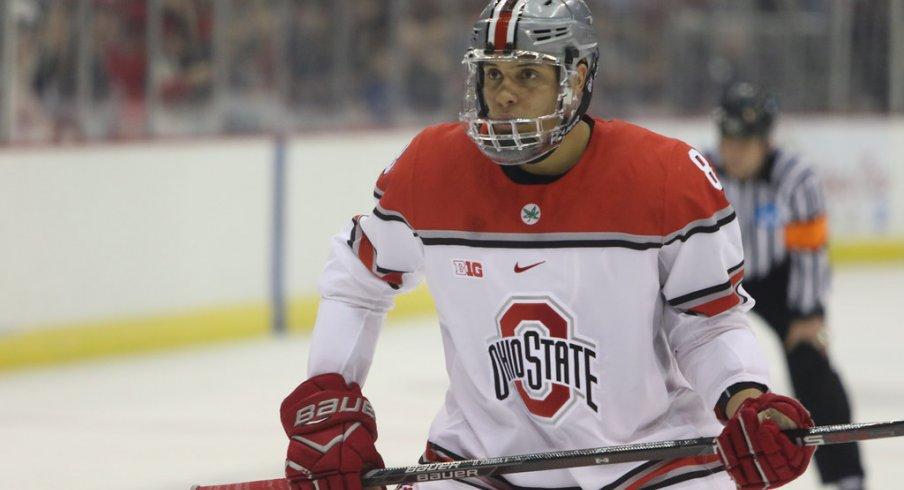 Dakota Joshua on the ice against Michigan.