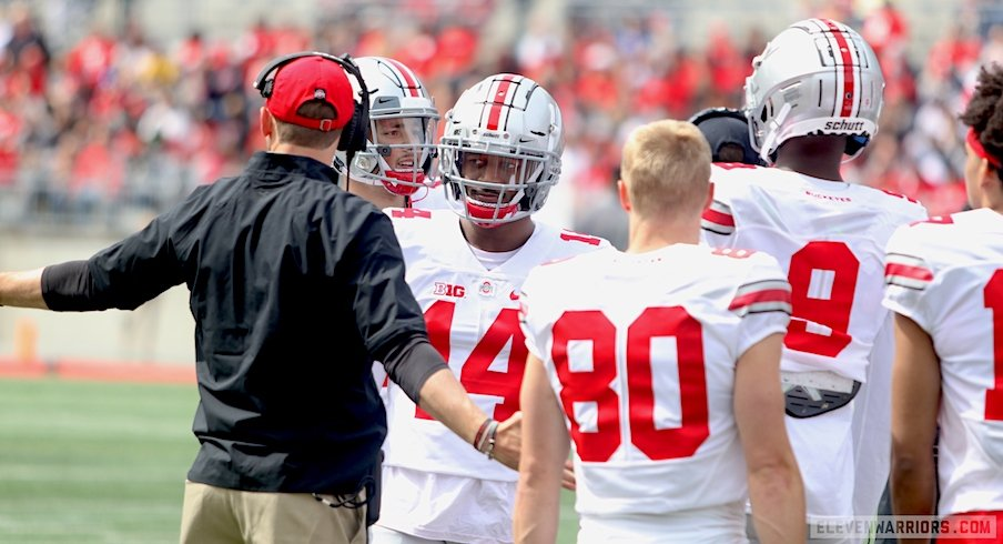 Brian Hartline with Ohio State's wide receivers during the spring game