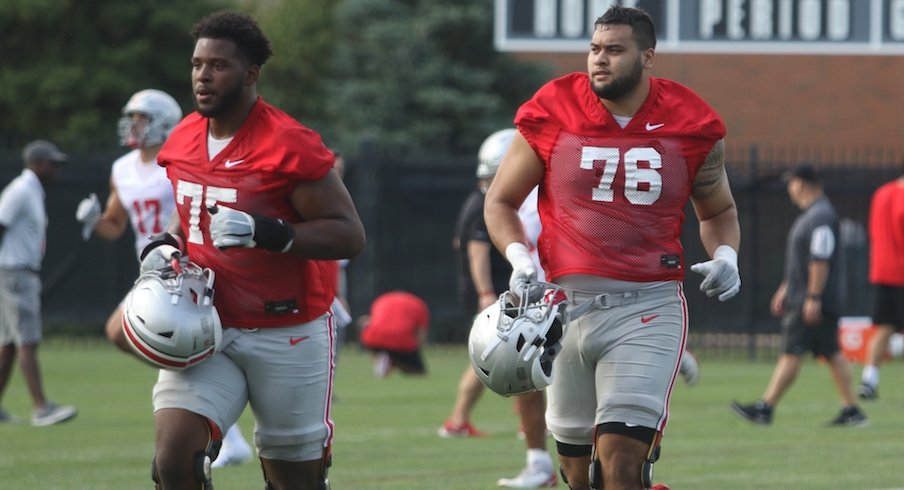 Thayer Munford and Branden Bowen were Ohio State's first-team offensive tackles on Tuesday.