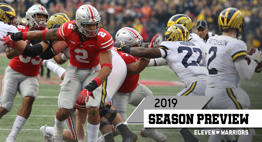 Chase Young getting after Shea Patterson in Ohio State's 2018 win over Michigan.