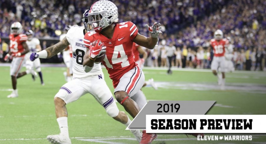 Fifth-year senior K.J. Hill will make life much easier for his first-year starting QB, Justin Fields.