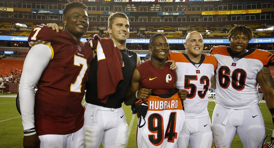 Dwayne Haskins, Sam Hubbard, Terry McLaurin, Billy Price and Michael Jordan after Thursday night's Redskins-Bengals game.