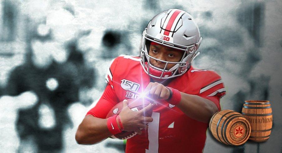 Aug 31, 2019; Columbus, OH, USA; Ohio State Buckeyes quarterback Justin Fields (1) runs against the Florida Atlantic Owls during the second half at Ohio Stadium. Mandatory Credit: Joe Maiorana-USA TODAY Sports