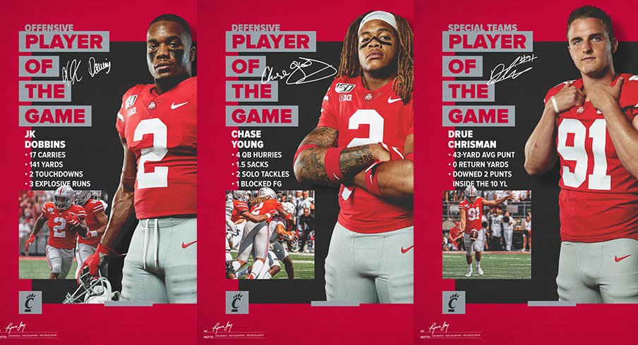 J.K. Dobbins, Chase Young and Drue Chrisman were named Ohio State's players of the game for the win over Cincinnati.