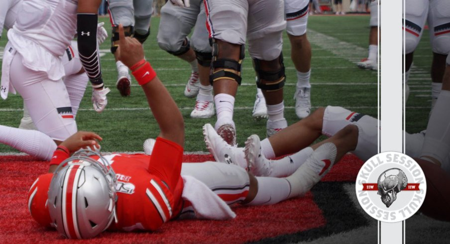 Justin Fields lays in pay dirt in today's skull session.