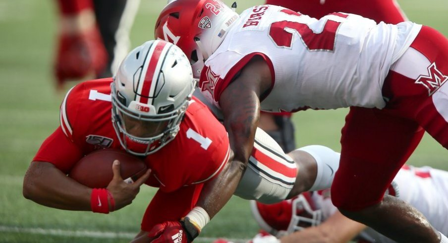 J.K. Dobbins racked up six total touchdowns in the first half against Miami.