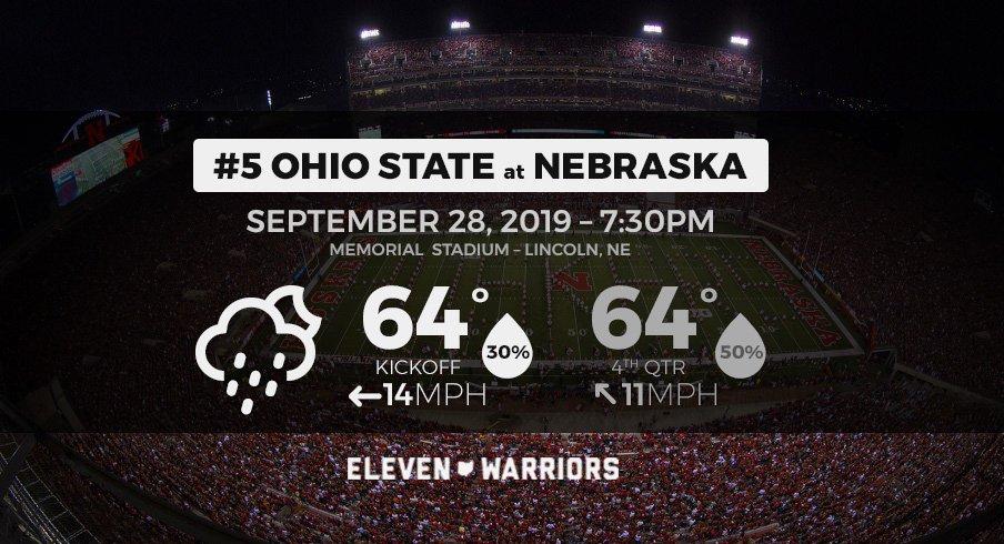 Expect showers when No. 5 Ohio State meets Nebraska Saturday night